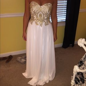 White/gold Prom Dress